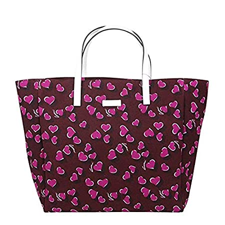 Fashion Shopping Gucci Women's Parasol Print Purple Canvas Tote Bag Handbag With Heartbit 282439