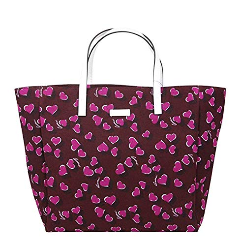 Gucci Women's Parasol Print Purple Canvas Tote Bag Handbag With Heartbit 282439 5060