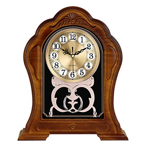 Reloj de escritorio Imitación madera sólida grande escritorio digital reloj reloj reloj dormitorio silencioso escritorio reloj ornamentos sala de estar decoración pequeña mesa reloj puede columpiarse