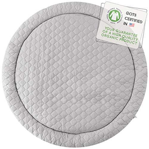 MakeMake Organics Organic Play Mat GOTS Certified Organic Cotton Nursery Rug Non Toxic Non Slip Baby Playmat Activity Mat Crawling Tummy Time Pad Machine Washable Unisex (Round 48