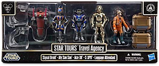 Star Wars 2013 Exclusive Battle Pack Star Tours Travel Agency [Signal Droid, Aly San San, Ace-38, C-3PO &Luggage Attendant]