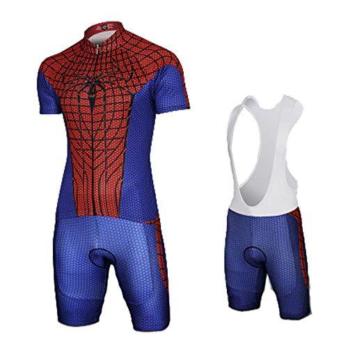 CYCLING Summer Marvel Avengers Spiderman para Hombre Jersey De Ciclismo Combo Conjunto Race Bib Shorts Ciclismo 1-M