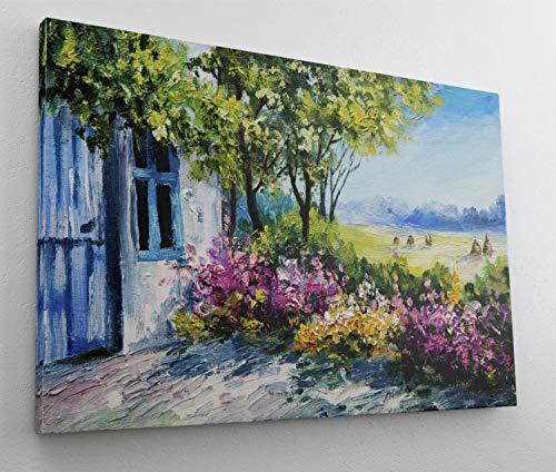 Gemälde Aquarell Mediteran Art Leinwand Canvas Bild Wandbild Kunstdruck L1595 Größe 150 cm x 100 cm