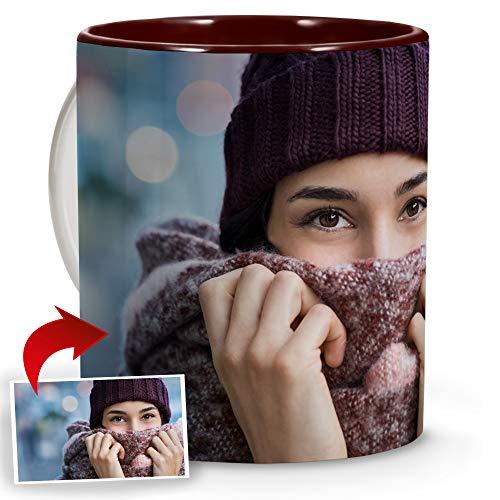 LolaPix Taza Personalizada Foto. Regalos Personalizados con Foto. Taza Personalizada de Cerámica. Taza con Color Interior Granate