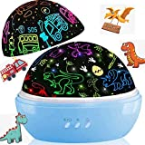 Night Light for Kids, Dinosaur Decor Boys Room,Projection and Night Light Mode 360° Rotation Lamp with 16 Colorful,Toddler Chidlren Nursery Room Light for Boys Christmas Gifts-Blue