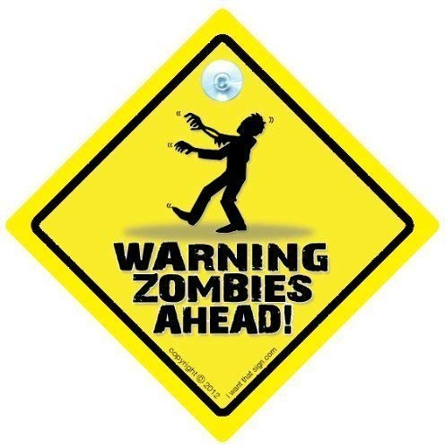 Warning Zombies Ahead voiture Panneau panneau, Zombie, Zombie voiture Panneau, Sticker Zombies Sign Sign, bébéà bord, pour voiture, blague, Poster voiture Panneau, Sticker Autocollant pour voiture, Zombie
