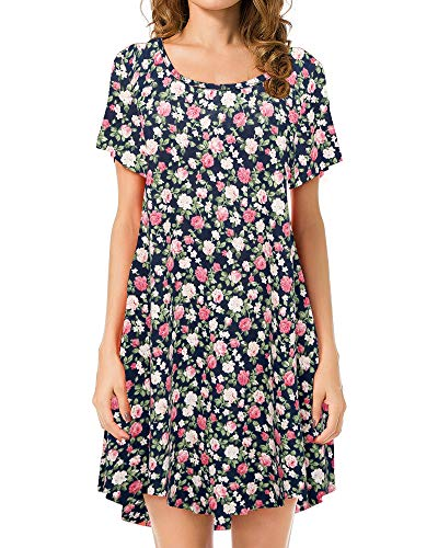 JollieLovin Women's Tunic Top Casual Short Sleeve Swing Loose T-Shirt Dress (3X, 4-Navy Blue)