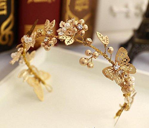 Olici MDRW-Bridal Hochzeit Ballsaal Haarnadel Haarschmuck Kopfschmuck Goldene Blätter Schmetterlinge Strass Haar-Schmuck Brautkleider Kleidung Und Accessoires Krone Haarspange Haarband