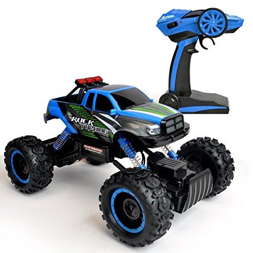 RC Auto kaufen Monstertruck Bild 3: Maximum RC Ferngesteuertes Auto für Kinder - 4WD Monstertruck - XL RC Auto für Kinder ab 8 Jahren - Rock Crawler (blau)*