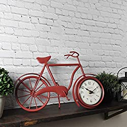 FirsTime & Co. Red Bicycle Tabletop Clock, 14 x 14