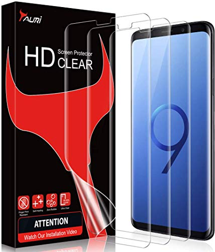 TAURI 3 Pezzi Pellicola Protettiva per Samsung Galaxy S9 Adatta a Sensore Ultrasonico Compatibile con la Custodia Senza Bolle HD Trasparente Morbido TPU Schermo Protettivo