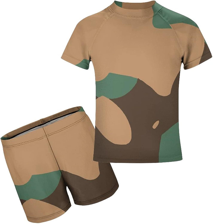 Yiaoflying Kids Boys 2 Piece Swimwear Set - Camouflage Green Rashguard Swimsuit Trunks