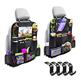 Car Backseat Organizer 2 Pack 11 Storage Pockets Kick Mats with 10 Touch Screen Tablet Holder Car Seat Back Protector Travel Accessories for Kids Toy Thermal Insulated Pockets Strong Buckle