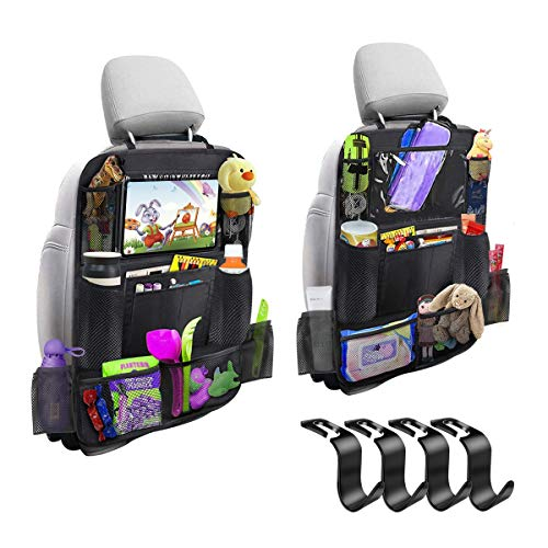 Car Backseat Organizer 2 Pack 11 Storage Pockets Kick Mats with 10'' Touch Screen Tablet Holder Car Seat Back Protector Travel Accessories for Kids Toy Thermal Insulated Pockets Strong Buckle
