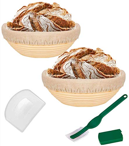 9 Inch Bread Banneton Proofing Basket Round Proving Baskets for Sourdough Bread Included Bread Lame +Dough Scraper+ Linen Liner Cloth Baking Bowl Dough Gifts for Professional & Home Bakers