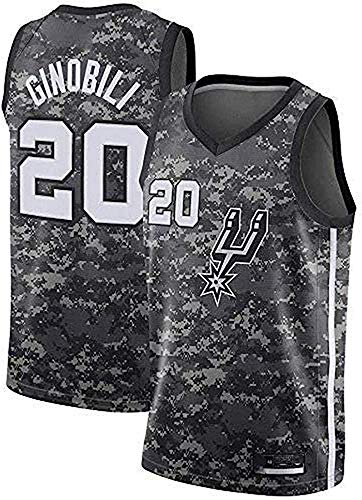 CXJ Jerseys del Baloncesto Masculino, San Antonio Spurs # 20 Manu Ginóbili Jersey, Bordado De Malla Ventilador Unisex Sin Mangas Jerseys,A,XL(180~185CM/85~95KG)