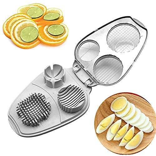 Cortador de huevos 3 en 1, cortador de huevos, herramienta multifuncional para el hogar, herramienta de plástico para fresas, fruta, rebanada, huevos hervidos, jamón, herramienta de cocina