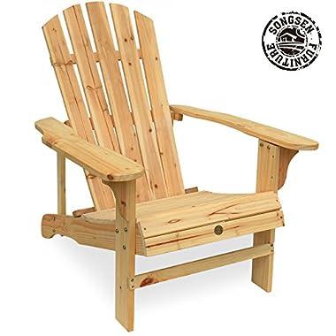 Songsen Outdoor Log Wood Adirondack Lounge Chair Patio Deck Garden Furniture - Natural
