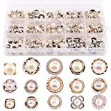 Swpeet 150Pcs 15 Types Beautifu Sew in Faux Pearl Buttons Sewing Crafts with Shank Cover Up Buttons for Clothes Shirts Suits Coats Sweaters Storage Box