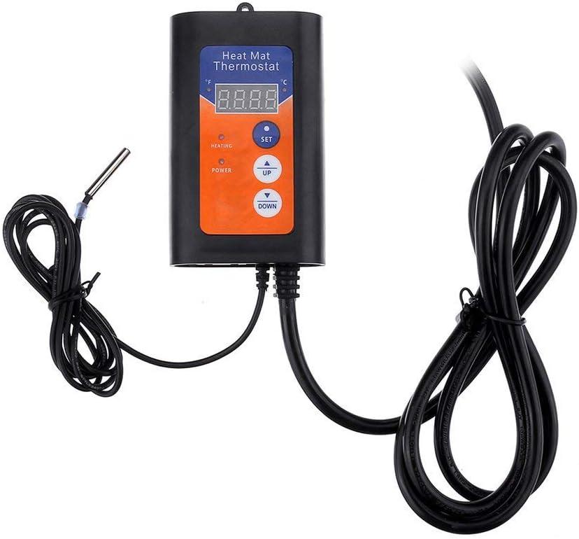 KoelrMsd Termostato de Alfombrilla térmica Digital 1150W 230V Controlador de Temperatura para Plantas hidropónicas germinación de Semillas Reptiles Suministros para Mascotas
