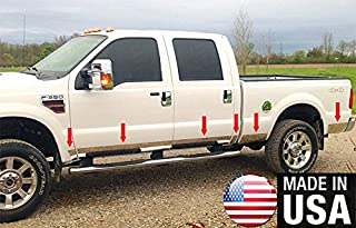 Made in USA! Works with 1999-2010 Ford F250/350 Superduty Crew Cab Short Bed Rocker Panel Trim Body Side Moulding 6