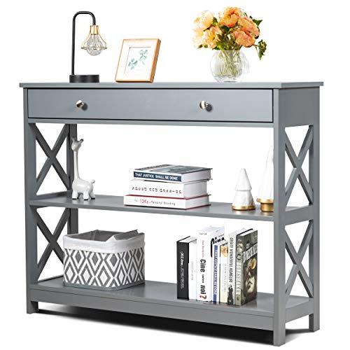 COSTWAY Table de Console à 3 Niveaux, Table d'Appoint avec 1 tiroir et 2 Étagères de Rangement de Motif en X, pour Couloir, Salon, Entrée, 100X30X80CM (Gris)