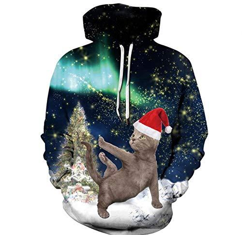 3D Fantasy Starry Sky Christmas Hat Dancing Cat Animal Print Manga Larga,Gran Bolsillo con Capucha con...