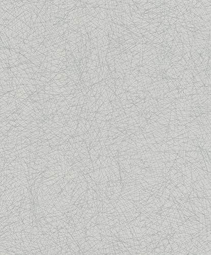 Rasch Tapeten (universell) Silber 10,05 m x 0,53 m #ROCKNROLLE 541373 Vliestapete, Hellgrau, 10,05 x 0,53 m