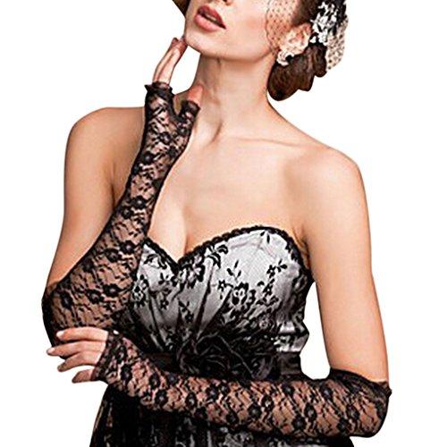 Guanti lunghi in pizzo senza dita, da donna, sexy ed eleganti, protezione contro i raggi UV, ideali per matrimoni, occasioni eleganti, feste in costume, esibizioni Nero Taglia unica