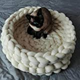 Century Mall Chunky Crocheted Pet Bed Cozy Wool Pet Furniture Thick Knitted Pet Bed Dog Cat Cave Cat Nest Pet House 100% Handmade,Gift Idea (16 inch, White)