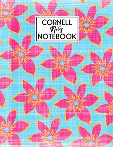 Cornell Notes Notebook: Cute Cornell Note Paper Notebook | Large College Ruled Lined Journal | College & University Note Taking System (Aqua Floral)