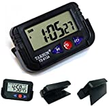 FOXMICRO Car Dashboard Alarm Clock and Stopwatch with Flexible Stand-FM