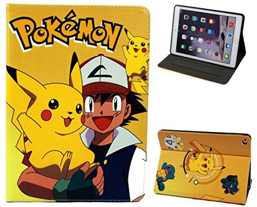 For Apple iPad Pro 9.7 / iPad 9.7 / iPad Air 1-2 Happy Pokemon Go Pikachu Folio Stand Case Cover