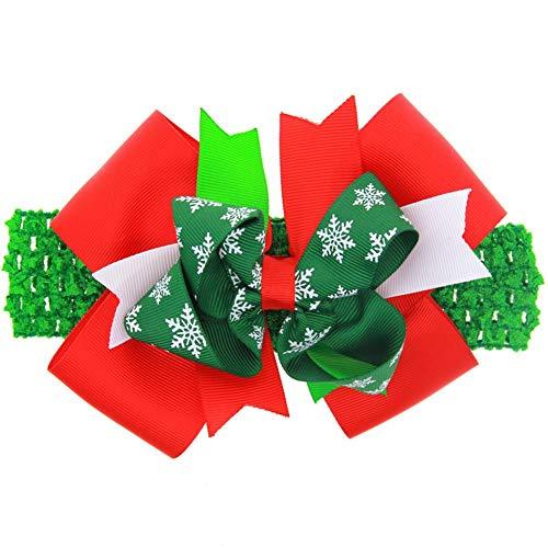 Demarkt meisjes baby haarband hoofdbanden parels bloemen kerstdecoratie 15*12cm groen rood