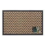 JVL–Viena con raspador, Puerta de Entrada de Goma Resistente Mat-zig Zag, 45x 75cm, 100% Polipropileno, marrón, 45x 75x 1cm