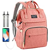 Diaper Bag Backpack, Mokaloo Large Baby Bag, Multi-functional Travel Back Pack, Waterproof Maternity Nappy Bag Changing Bags with Insulated Pockets Stroller Straps and Built-in USB Charging Port, Pink