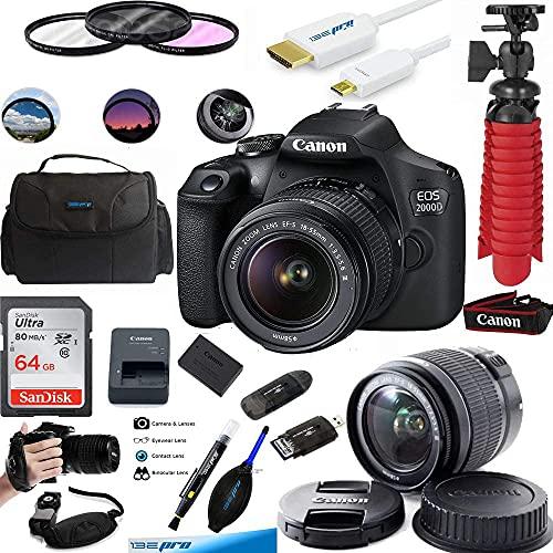 Canon EOS 2000D Digital SLR Camera with 18-55mm Lens Kit (Black) + 64GB Essential Accessories Bundle (International Version)