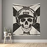 Tapiz musical cráneo muerte rock punk tapices pequeños de pared para dormitorio, sala de estar, ventana, decoración estética, divisor de...