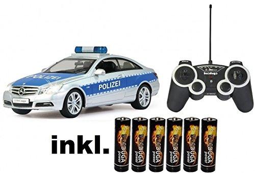 BUSDUGA RC Mercedes Benz E-Klasse Polizei Auto ferngesteuert - inkl. Batterien mit Polizei-Sirene,Blaulicht und Sound 1:16