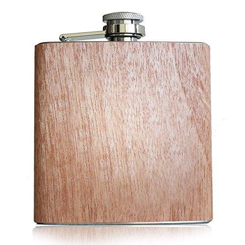 Holz Flachmann 6 oz - 177 ml   Originelle & hochwertige Taschenflasche für Alkohol