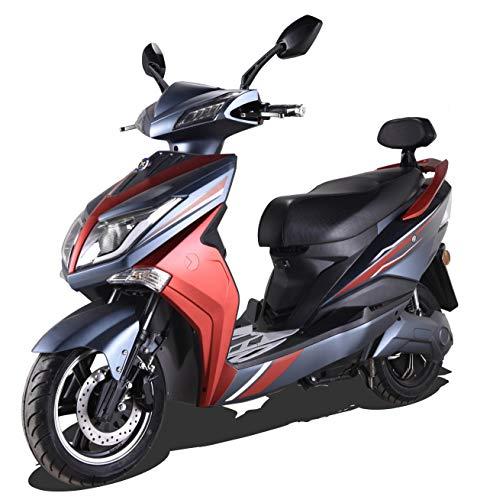 "Elektroroller ""HAWK 3000 LI"" 3000 Watt Elektroroller 45 km/h Lithium Akku E-Roller E-Scooter mit Straßenzulassung Elektro Roller Scooter Testsieger kaufen Elektromobil, Schwarz/Rot"
