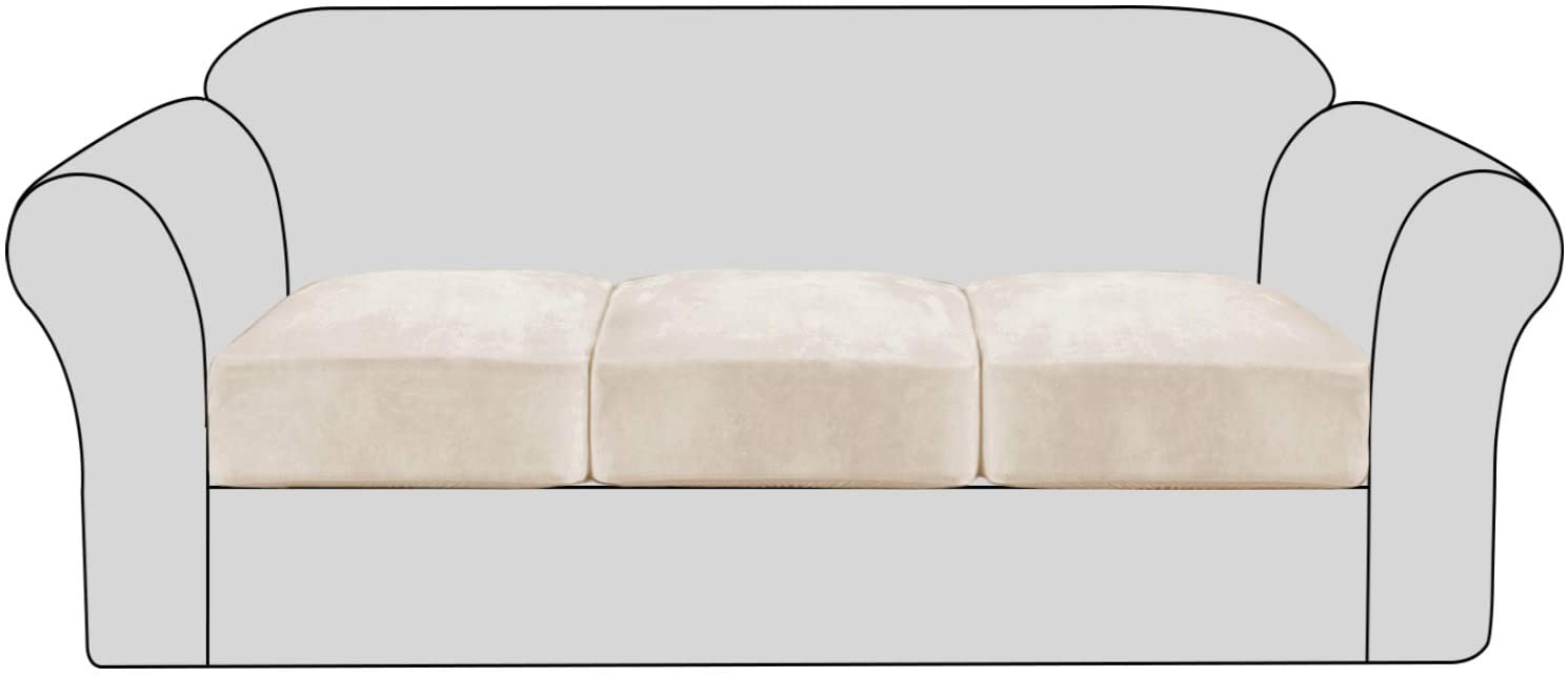 H.VERSAILTEX Velvet Stretch Couch Cushion Cover Plush Cushion Slipcover for Chair Loveseat Sofa Cushion Furniture Protector Seat Cushion Sofa Cover with Elastic Bottom Washable (3 Packs, Ivory)