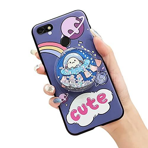 Funda para teléfono Huawei Enjoy 7/Y6 Pro 2017/P9 Lite Mini, para niñas Durable Lindo soporte Original Soft Case Foothold Funcional Impermeable Suave Líquido Brillante Azul UFO