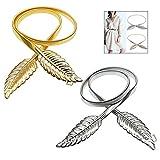 LSTK 2 PCS Hojas Metal Elástico Cintura, Correa de Cintura Broche de Enclavamiento para Mujer para Vestido, Fiesta, Boda (Dorado y Plata)