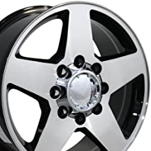 OE Wheels 20 Inch Fits Chevy 2500 3500 GMC 2500 3500 8x165 Heavy Duty Silverado Style CV91A 20x8.5 Rims Gloss Black Machined SET