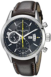 Raymond Weil Freelancer Black Dial Stainless Steel Brown Leather Mens Watch 7730-STC-20021 image