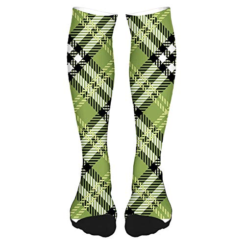 2021 Fashion Thigh High Socks Cotton Over the Knee Socks,Classical Celtic Pattern Symmetrical Stripes and Squares Print,Long Knee High Socks for man and woman 60cm