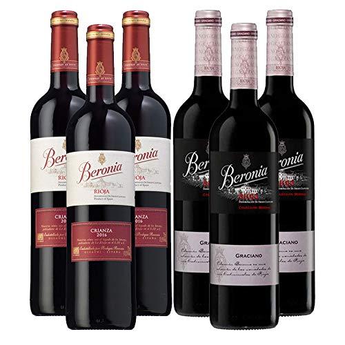 Vinos tintos Beronia Crianza y Graciano - D.O. La Rioja - Mezclanza Gonzalez Byass (Pack de 6 botellas)