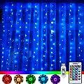 RGB LED Lichtervorhang 3x3M 240 LEDs 16 Farben 4 Modi mit Fernbedienung & Timer für Weihnachten Partydekoration Geburstag Hochzeit Wohnzimmer Kinderzimmer