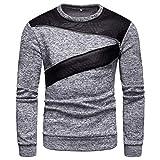 Xmiral Pullover Herren Langarm O Neck Bluse Patchwork Reißverschluss Design Shirt Top (M,Grau)